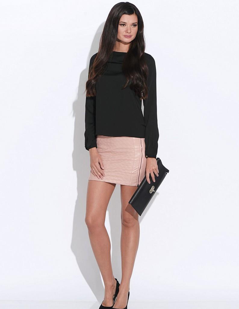 Розовая кожаная мини юбка