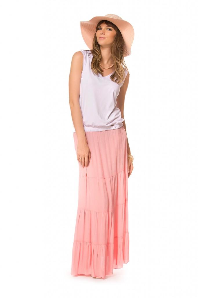 Длинная трикотажная розовая юбка