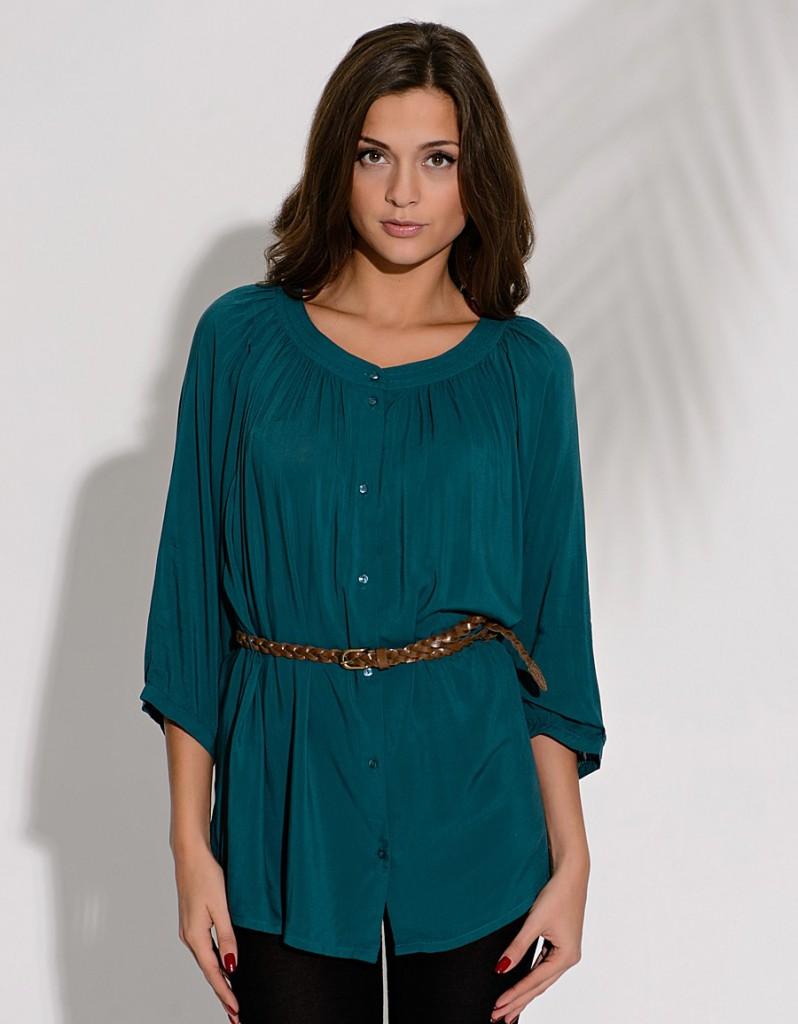 Темно-зеленая туника-рубашка