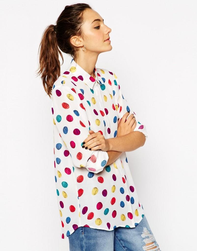 Разноцветная рубашка оверсайз