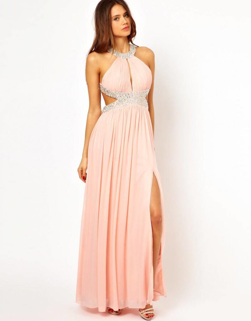 Кремовое длинное платье