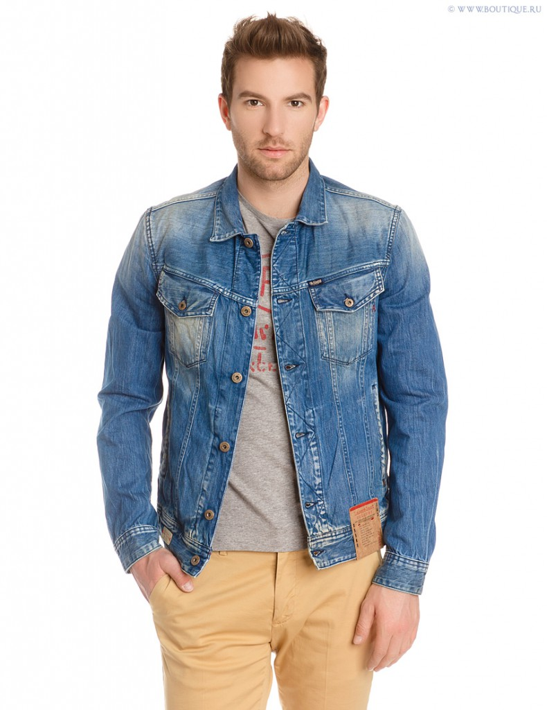 Стильная джинсовая мужская куртка с потертостями