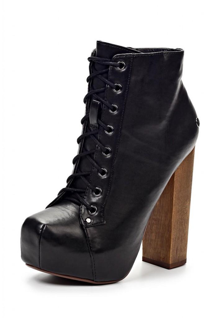 Черные кожаные  ботильоны на толстом каблуке