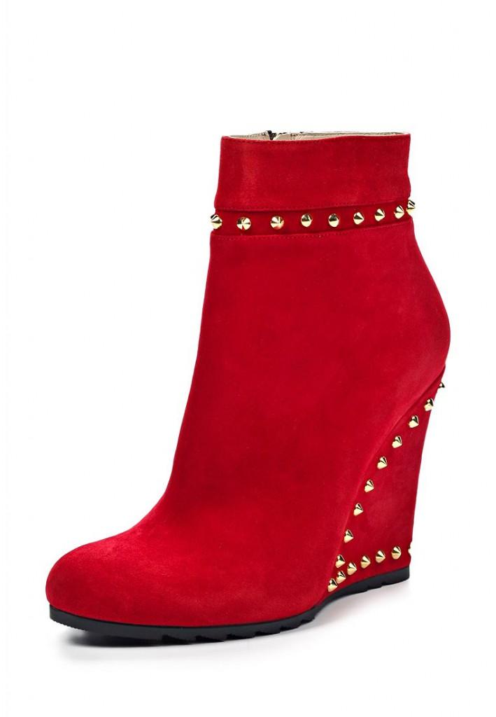 Красные ботильоны на толстом сплошном каблуке