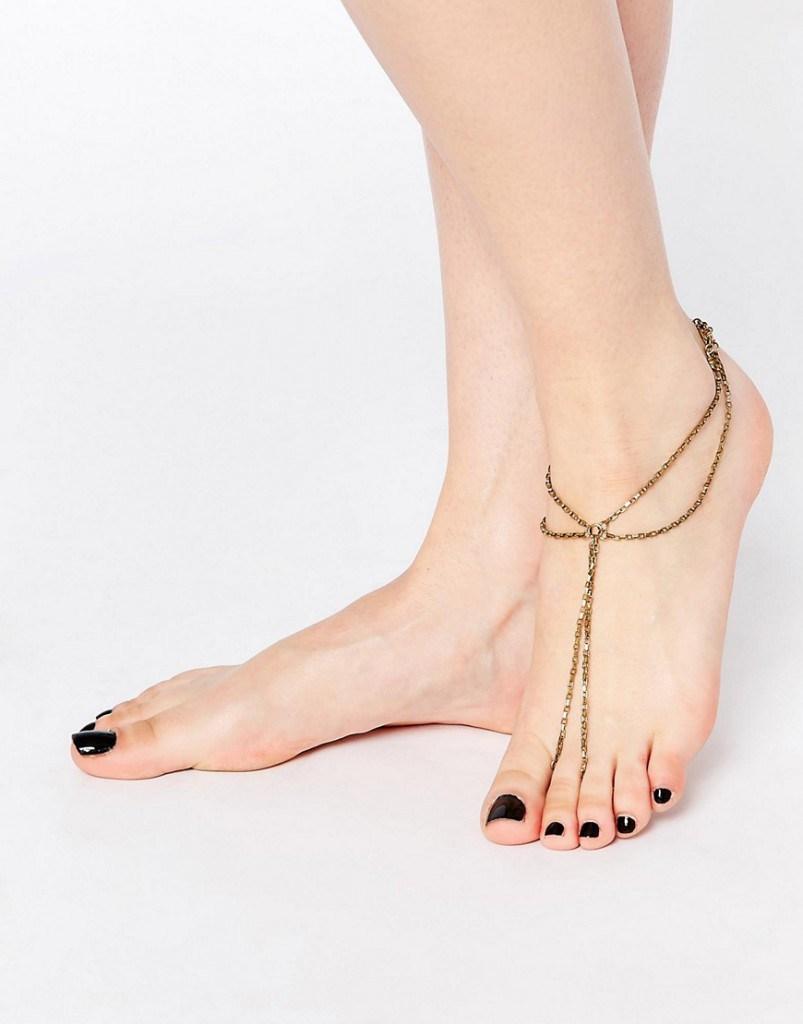 Темный золотистый браслет на ногу