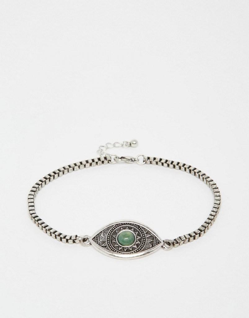 Серебряный браслет с круглым камнем на ногу