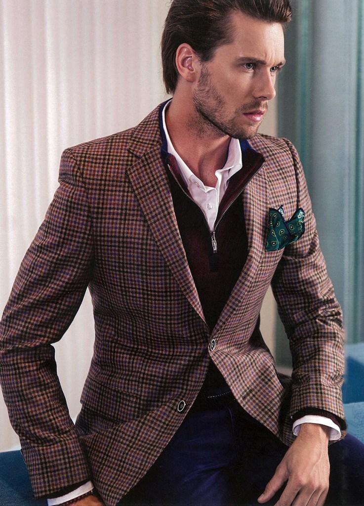 Модный клетчатый мужской шерстяной летний костюм