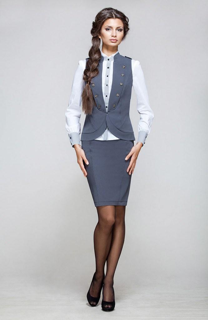 Модный серый женский классический костюм с юбкой