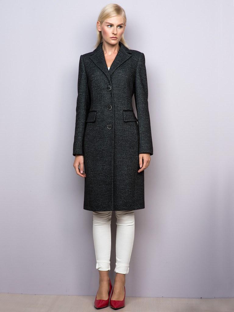 Стильное темно-серое женское классическое пальто