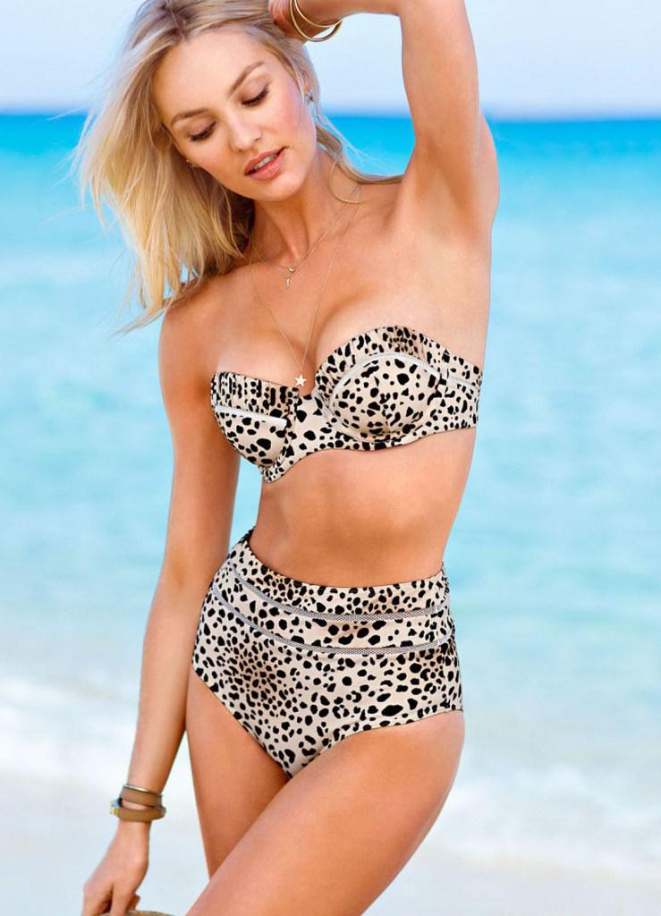 Раздельный купальник в ретро стиле с леопардовым принтом