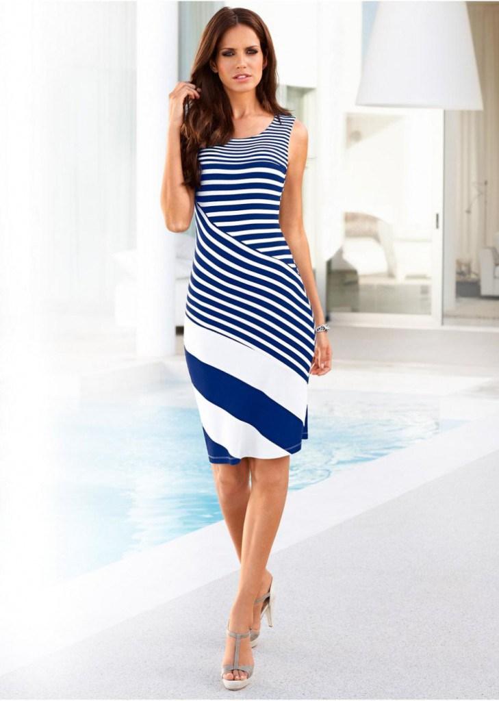 Платье футляр в морском стиле