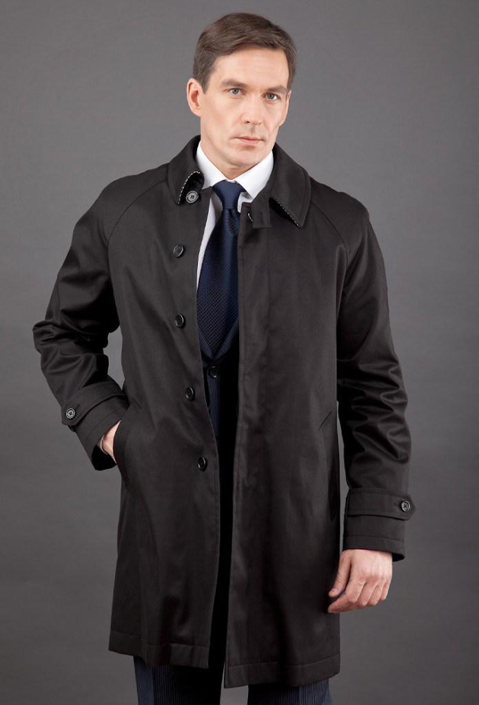 Классическое тканевое мужское черное пальто