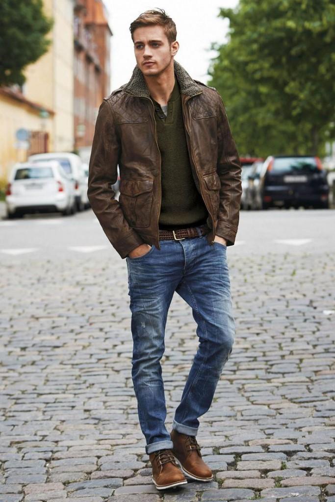 Модный мужской образ с кожаной курткой в стиле casual