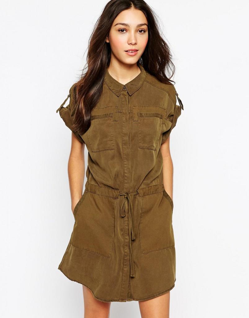 Платье коричневого цвета в стиле милитари