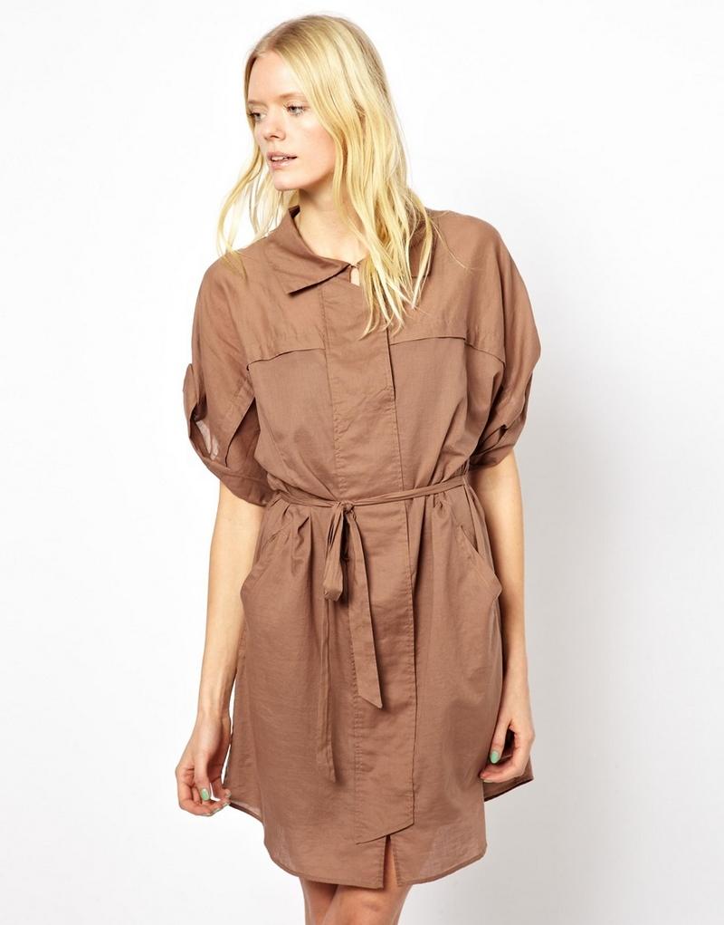 Платье в стиле сафари для полных женщин