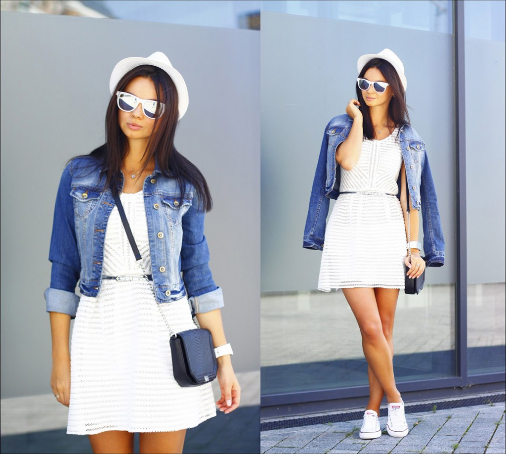 Белое легкое платье с кедами