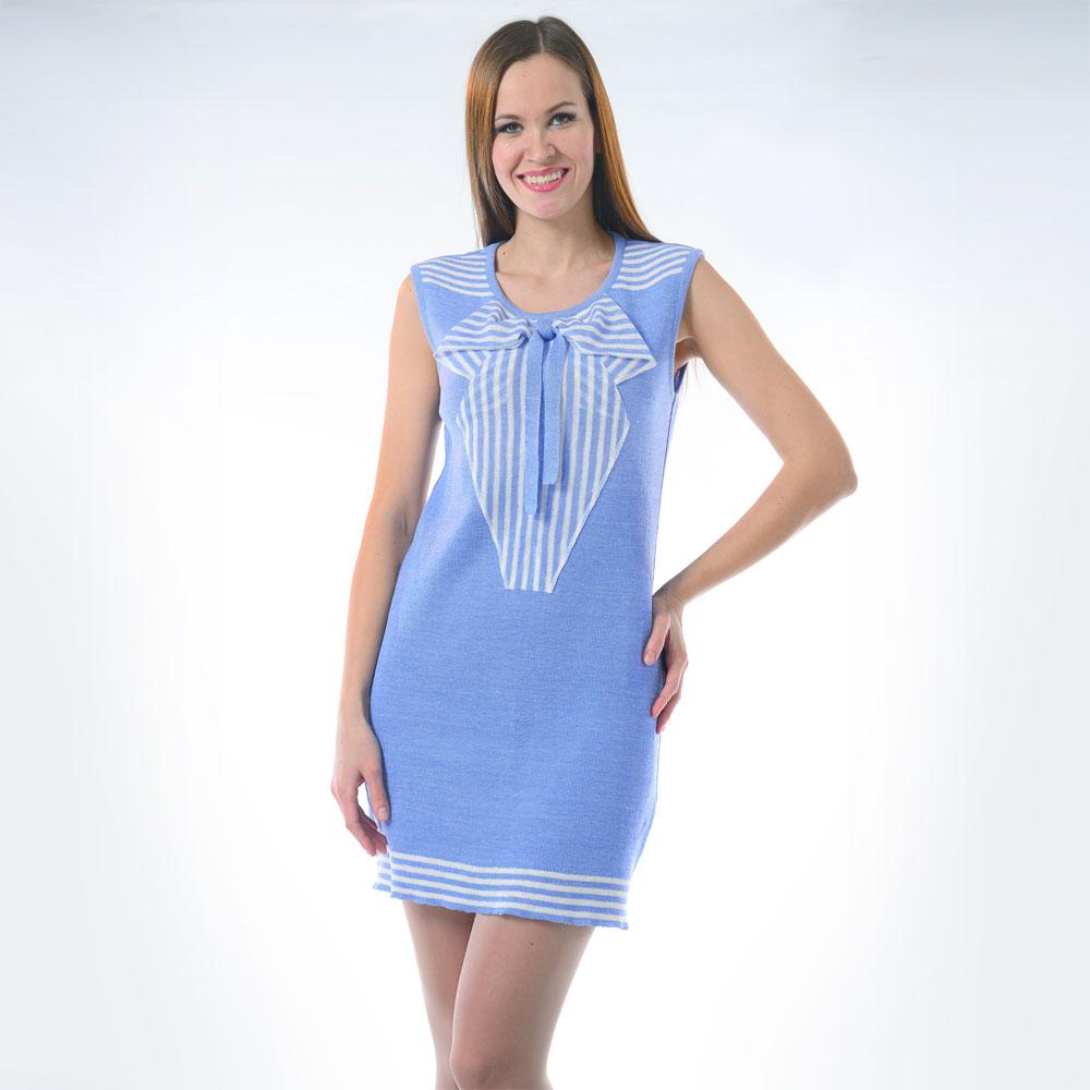 Голубое платье футляр из льна