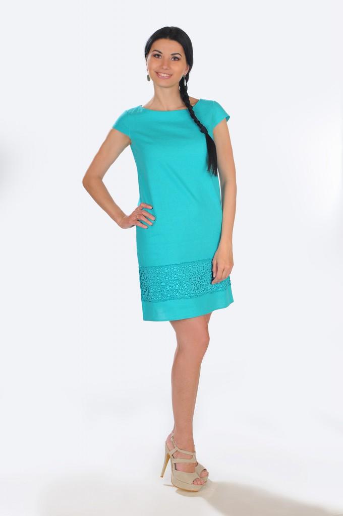 Льняное бирюзовое платье