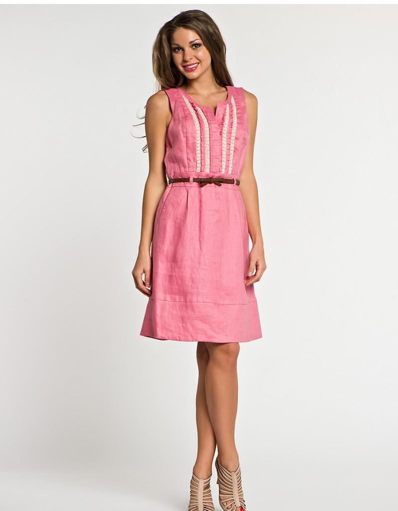 Льняное розовое платье