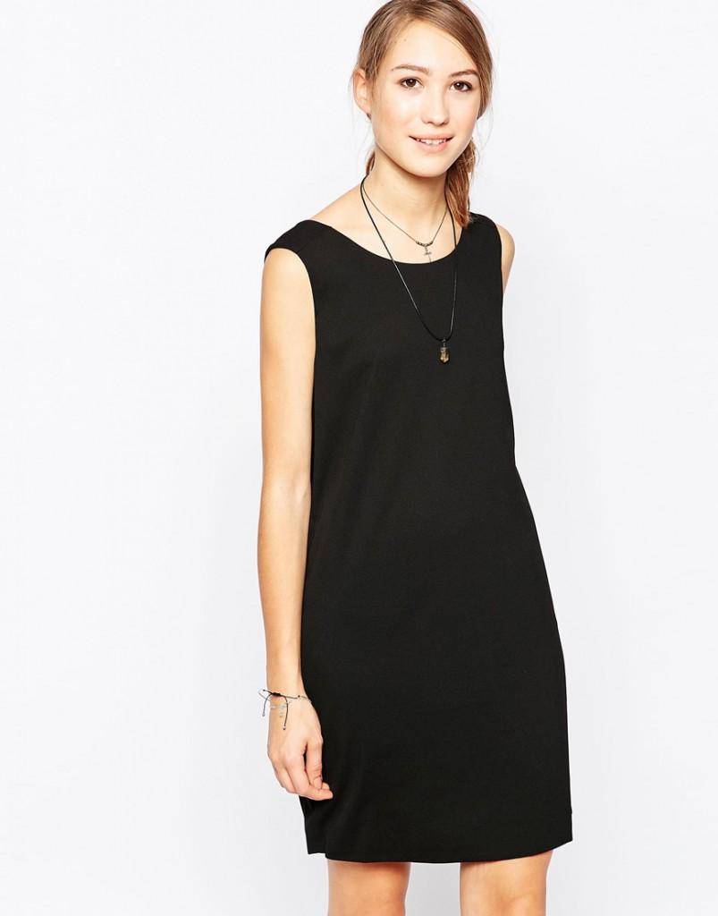 Льняное короткое черное платье