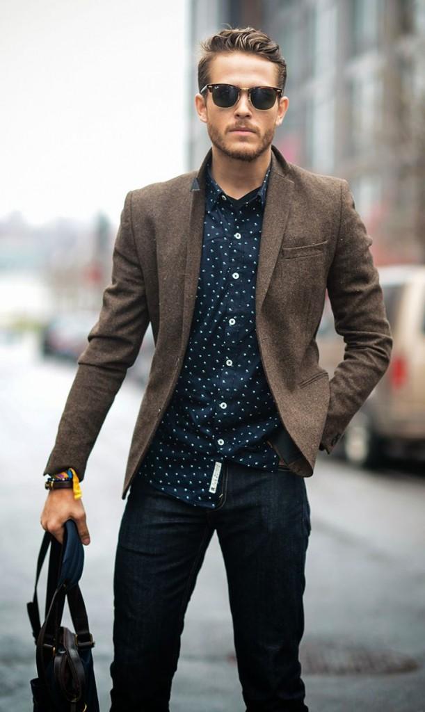 Теплый коричневый спортивный пиджак