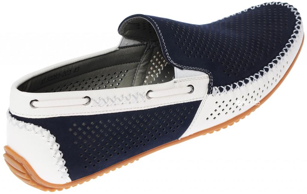 Сине-белые спортивные мужские мокасины с перфорацией