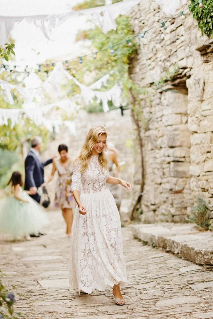 Свадебное длинное платье в стиле прованс