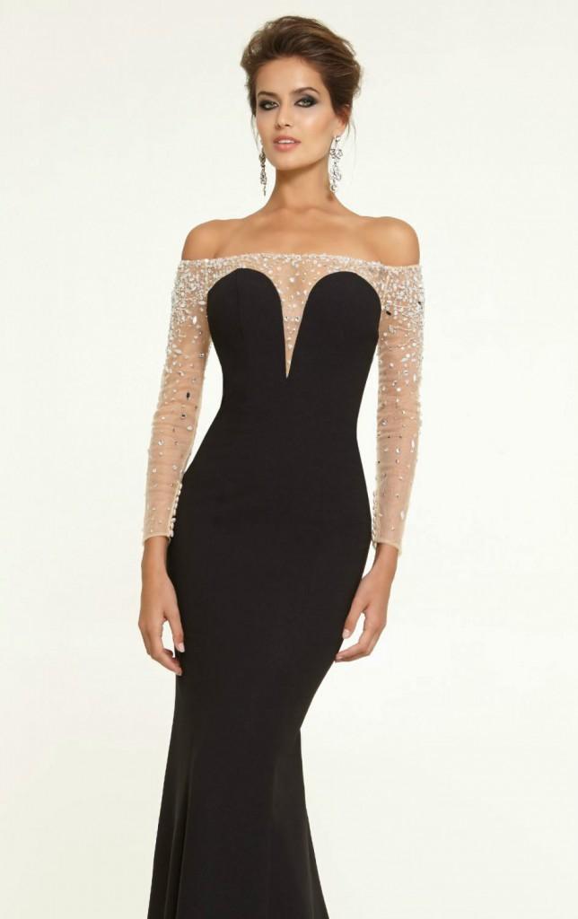 Длинное черное вечернее платье с камнями в гангстерском стиле