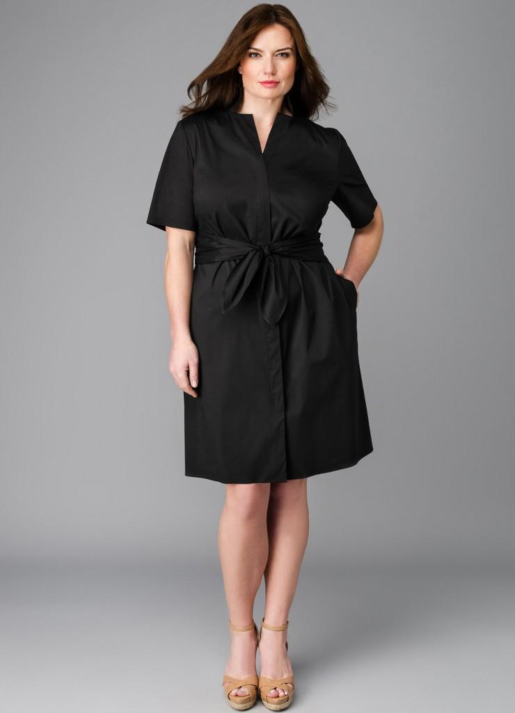 Черное офисное платье для полных женщин