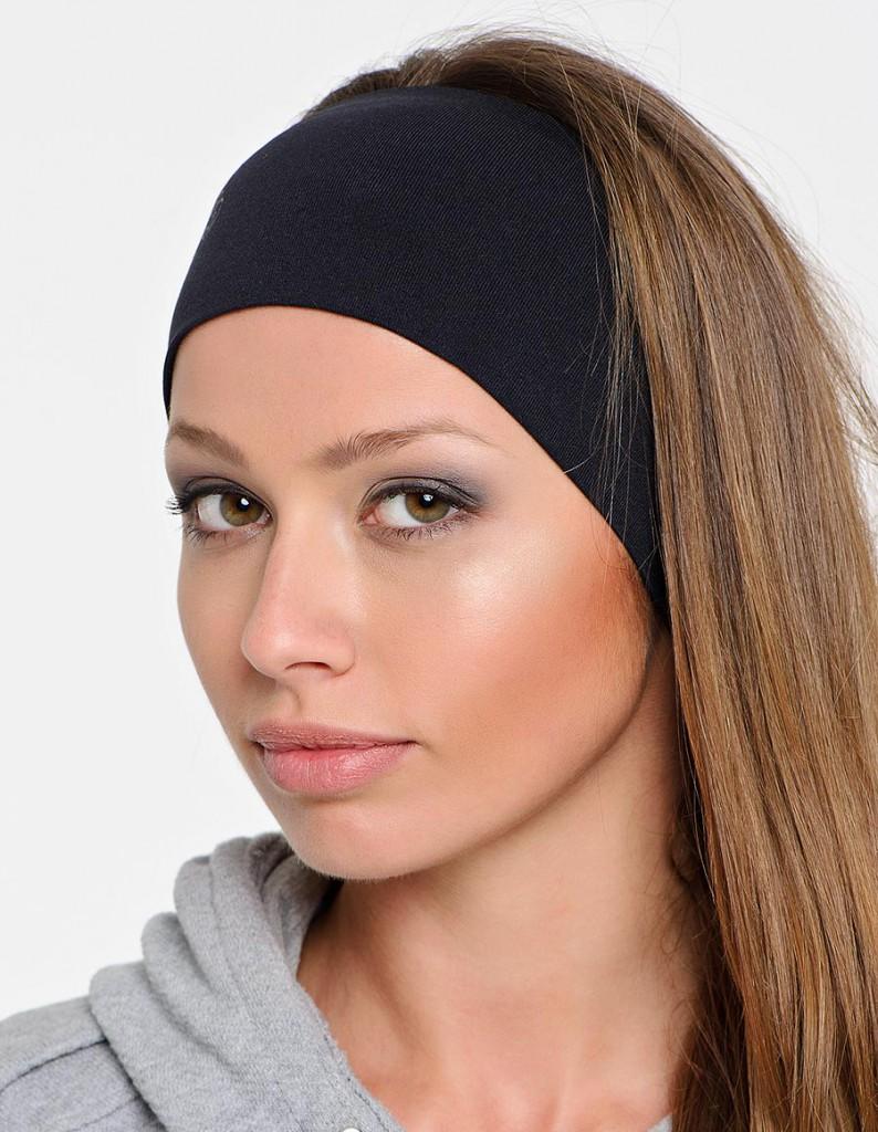 Черная спортивная женская повязка на голову