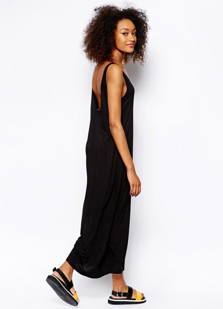 Длинное черное платье-майка