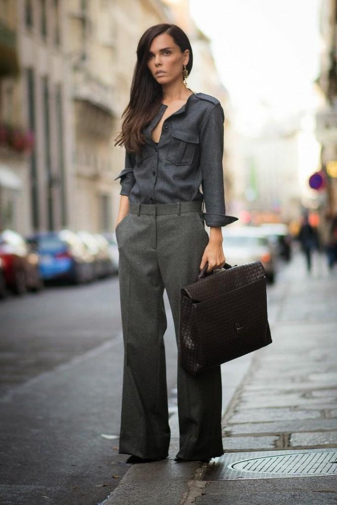 Женский серый наряд в стиле business casual