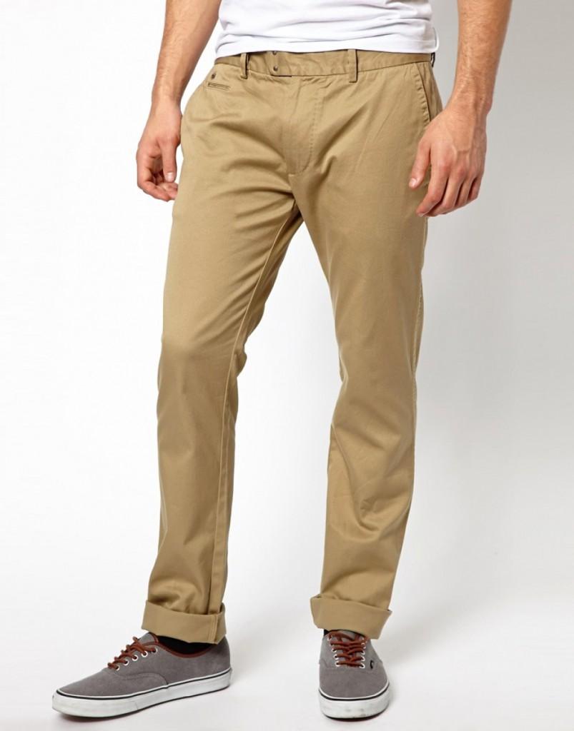 Песочные мужские штаны слаксы с подворотами