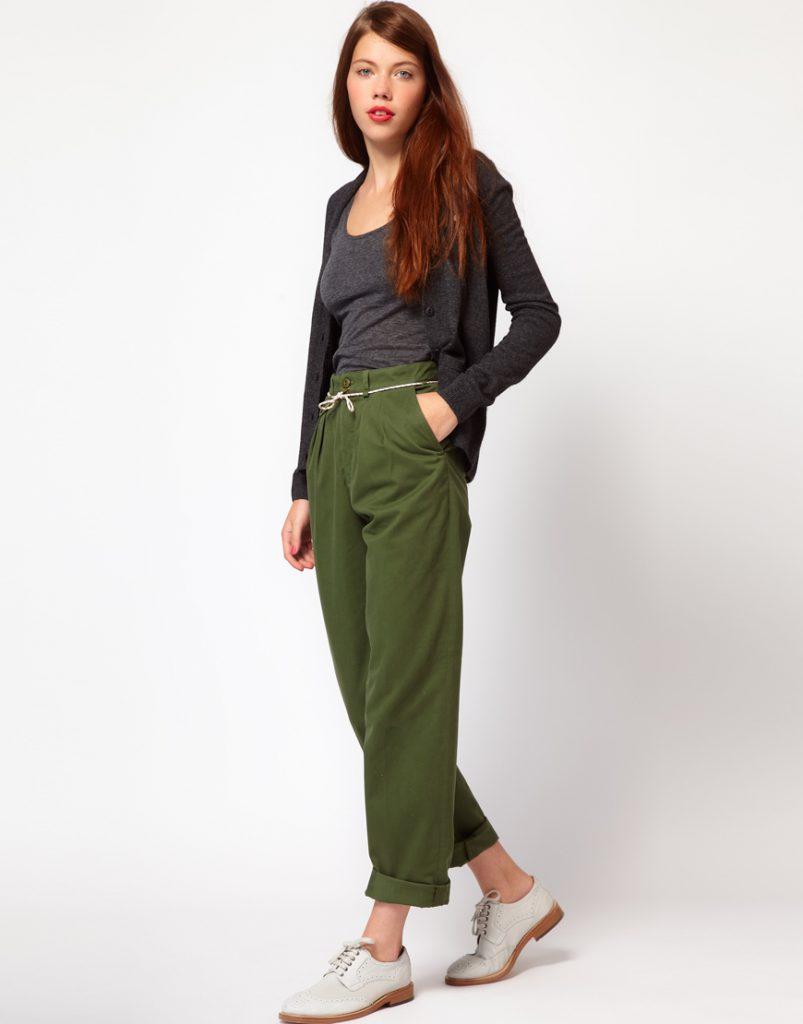 Женские брюки чинос цвета хаки