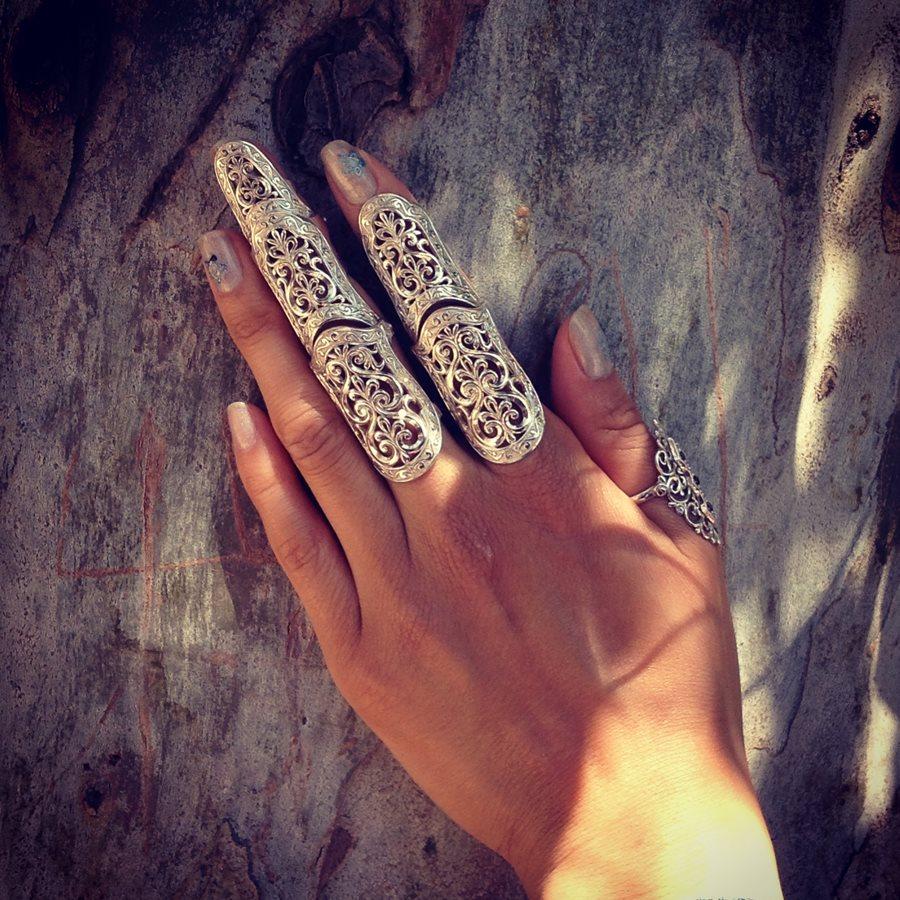 Ажурные кольца на весь палец и на фаланги