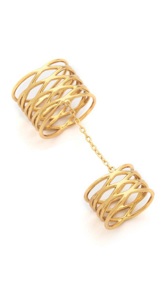 Двойное фаланговое кольцо с цепочкой