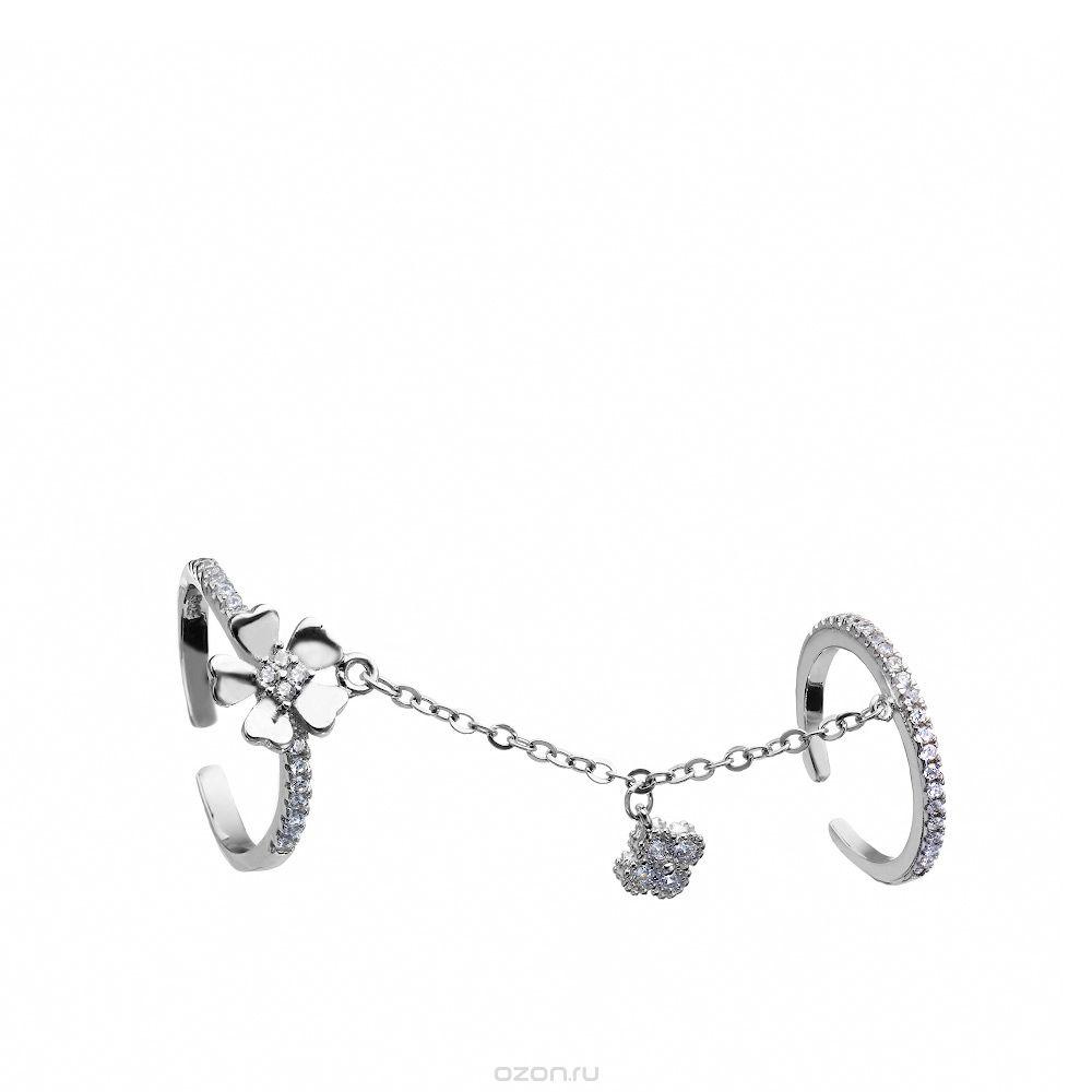 Кольцо на две фаланги из серебра и камней