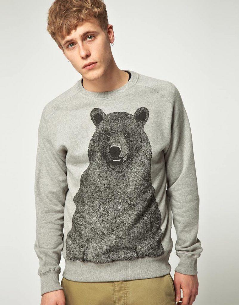 Серый мужской свитер с медведем