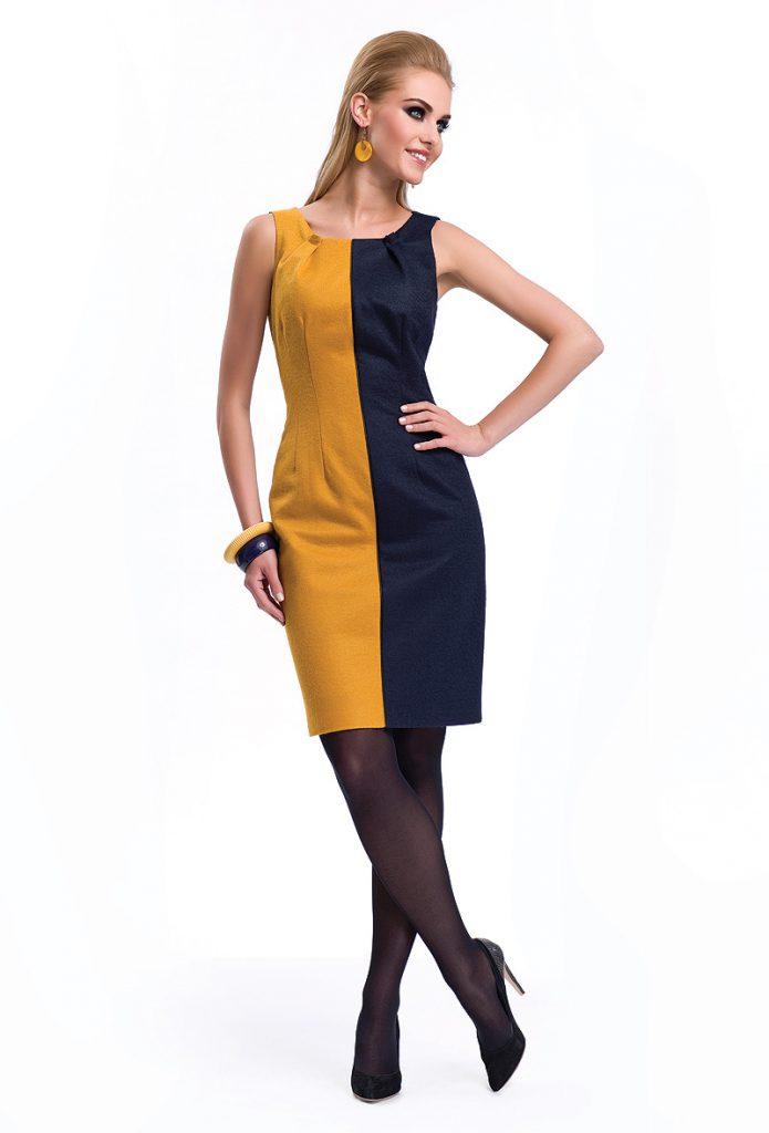 Оранжево-черное двухцветное платье