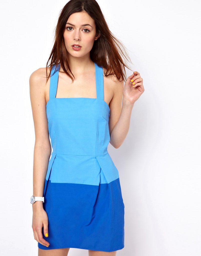 Сине-голубое двухцветное платье