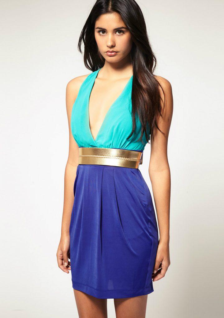 Бирюзово-синее двухцветное платье