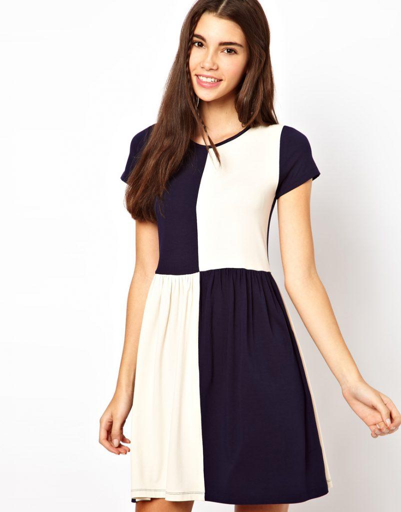 Черно-белое необычное двухцветное платье
