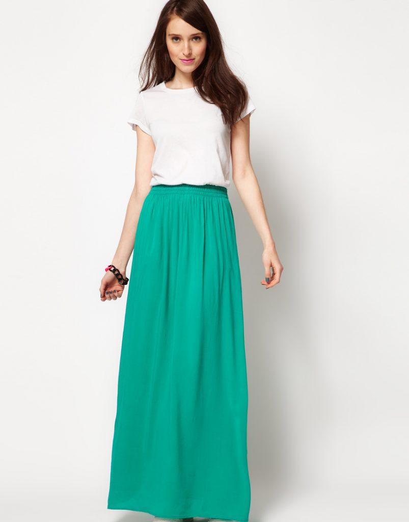 Бело-зеленое двухцветное платье