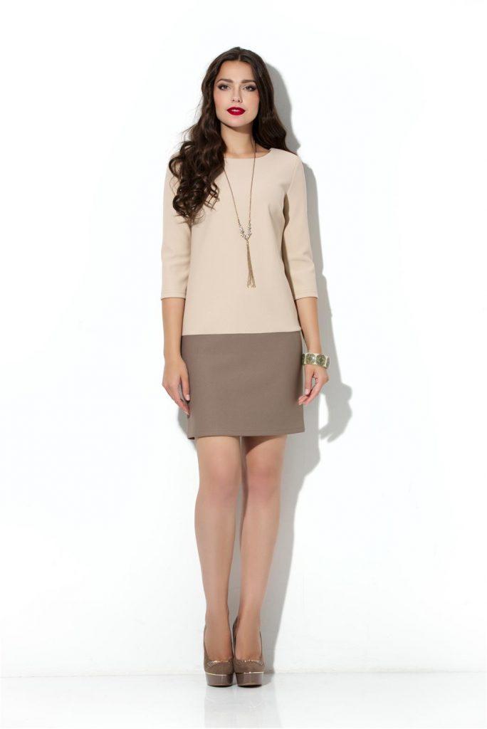 Коричнево-бежевое двухцветное платье