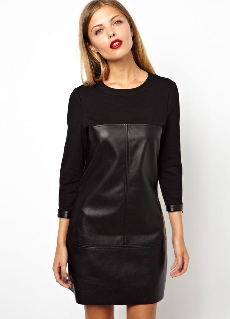 Платье футляр с кожаными вставками