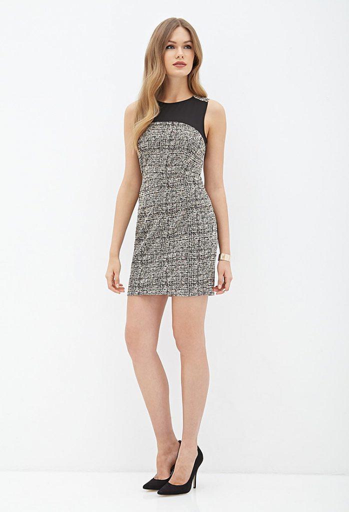 Серое платье со вставкой из шифона
