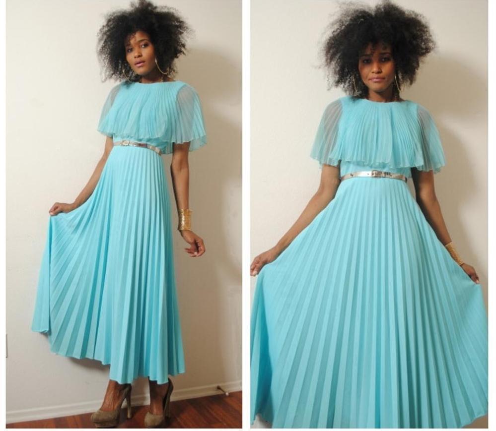 Бирюзовое винтажное платье