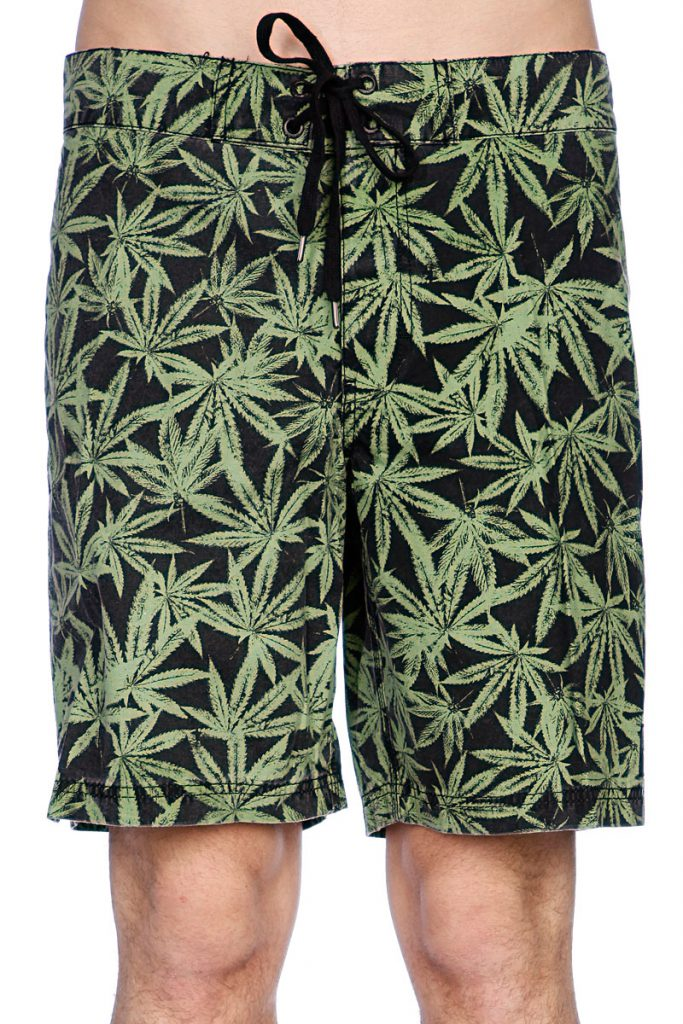 Черно-зеленые пляжные мужские шорты
