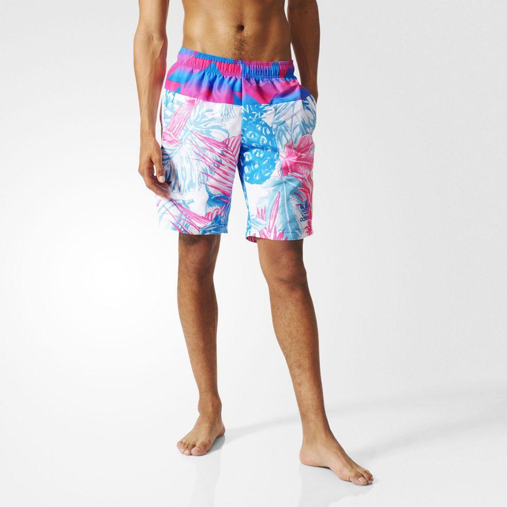 Розово-голубые пляжные мужские шорты