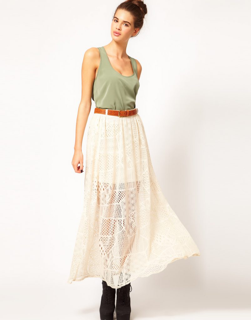 Красивая ажурная кремовая юбка в пол